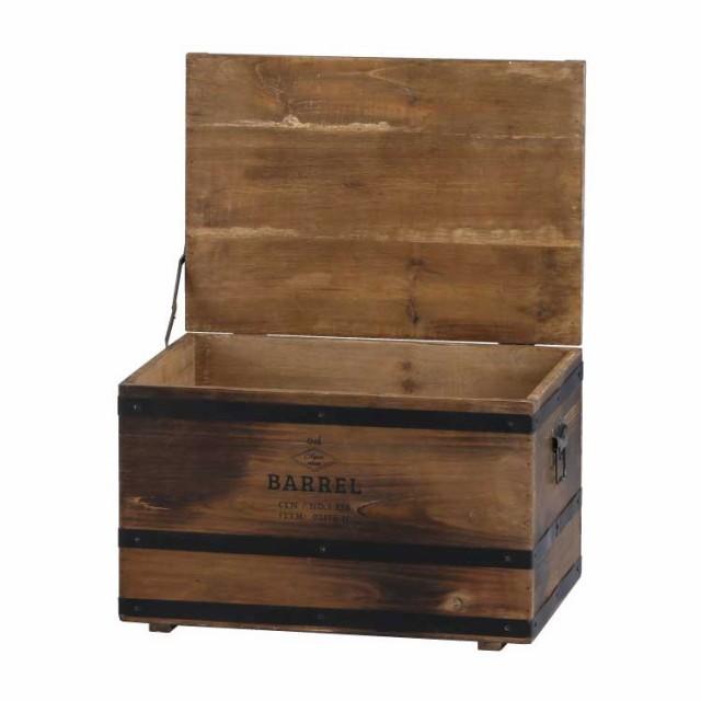 バーレル・リッドボックス 木箱 フタ付き 収納ボ...
