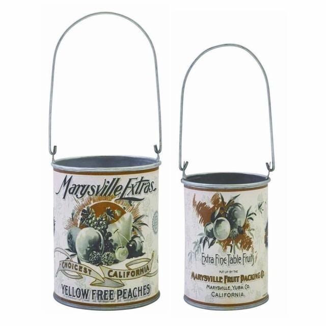 ヴィンテージリメイク缶-24 set2 植木鉢 フラワー...