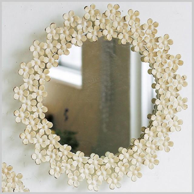 鏡 ミラー 壁掛け ルームミラー SHABBY FLORAL MI...