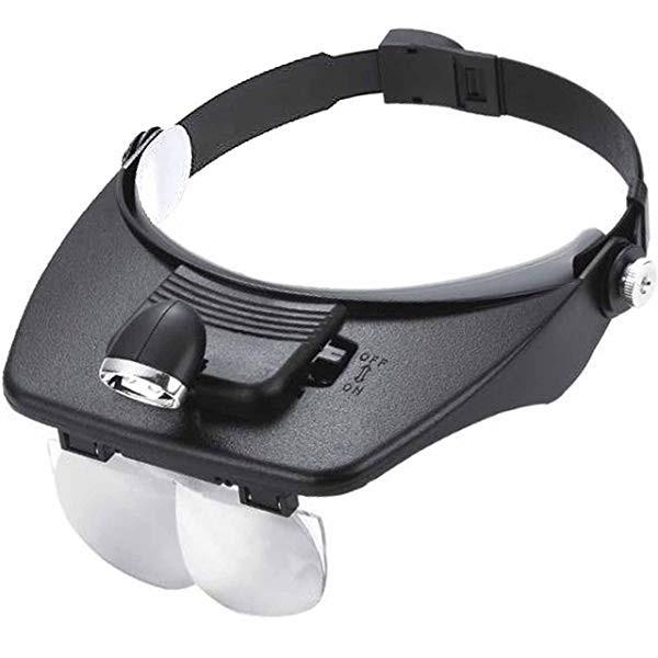 2灯式 LED ライト付 ヘッドルーペ 拡大鏡 レンズ ...