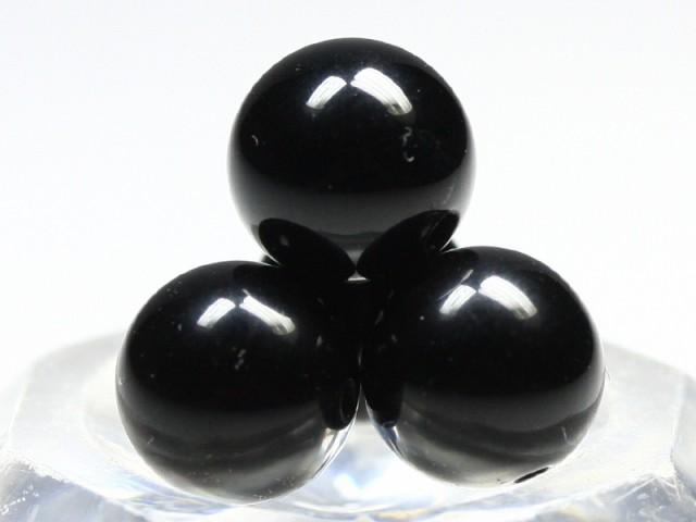 天然石 ビーズ【丸ビーズ】天然チベット産黒水晶(...