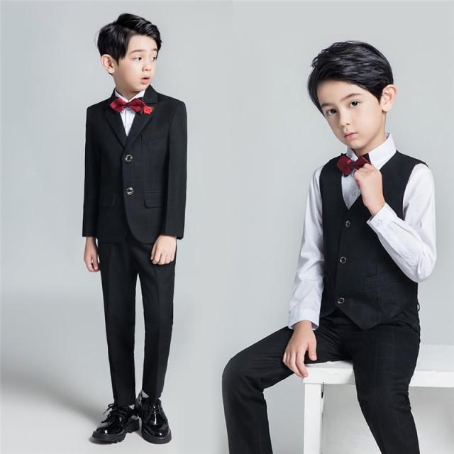 42d609c2377a0 子供フォーマル スーツ 黒 2019新作 卒業式 スーツ 5点セット 男の子 黒 ブラック フォーマル