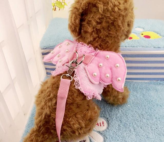 猫用 ピンクの天使 レース ハーネス リード付 胴...