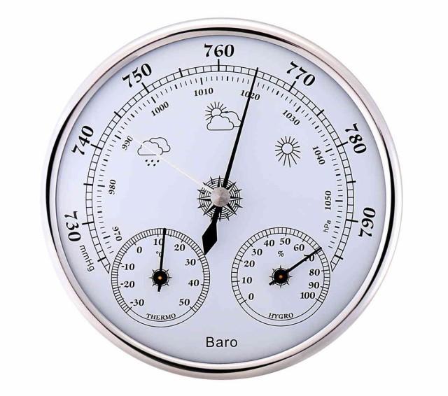 アナログ 式 壁掛け 気圧計 温度計 湿度計 サーモ...