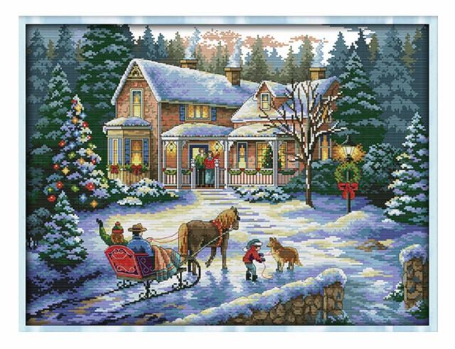 雪の中 懐かし 我が家 刺繍キット クロスステッチ...