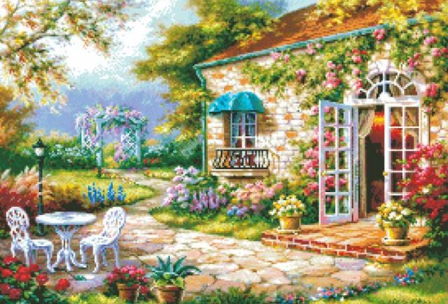 クロスステッチ 刺繍キット 刺繍糸 花庭園 刺繍針...