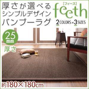 ラグマット【feeth】ブラウン 180×180cm 厚さ:2...