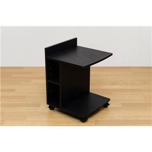 キャスター付きサイドテーブル 5段階調節可棚板1...