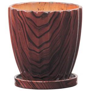 インテリアポット ウッディ ストライプ 10.5cm ブラウン 皿付 〔6個入り〕 /植木鉢