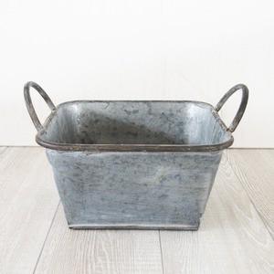 ブリキ製植木鉢 ウーノ ロースクエアー 23.5x23.5...