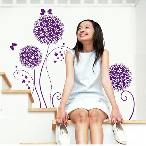 ウォールステッカー【花てまり/紫】壁紙 シール ...