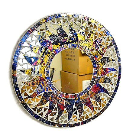 壁掛け バリ モザイクミラー 鏡 S [D.30cm] 丸型 ...