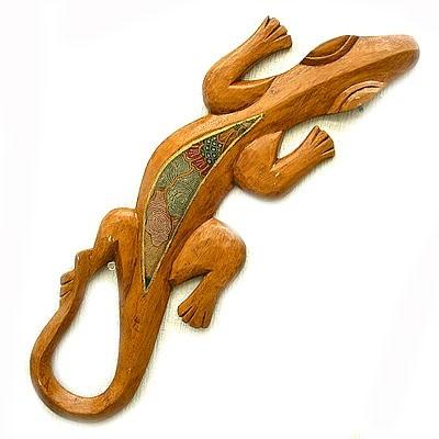 木彫りの壁掛け トカゲ A [50cm] ナチュラル オ...