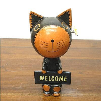 Welcome バリネコさん 黒 花飾り [約20cm] アジア...