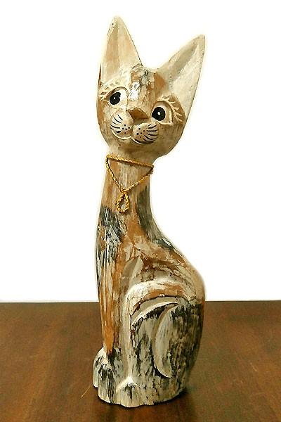 アンティーク調 木彫りのバリネコMサイズ[H.40cm]...