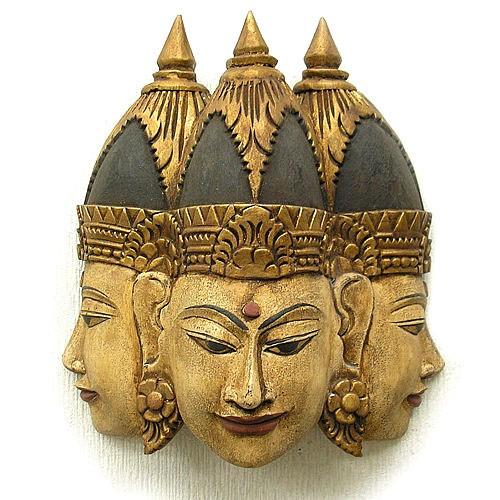 【送料無料】壁掛け 木彫りの 『三面仏陀』 【ア...