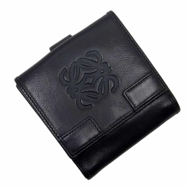【定番人気】【中古】ロエベ Wホック二つ折り財布...