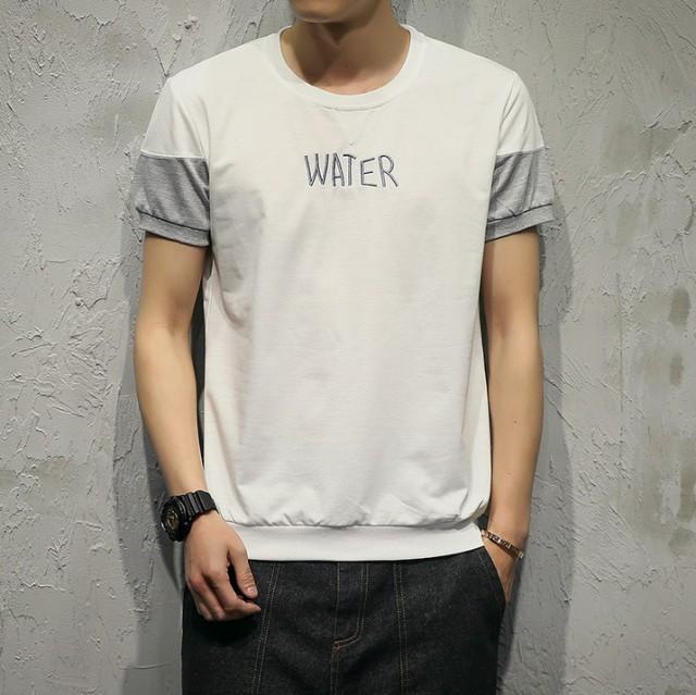 Tシャツ メンズ トップス 半袖 文字刺繍 カラー切...