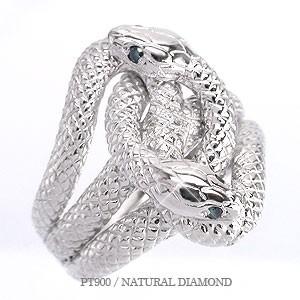 pt900 蛇 へび スネーク リング ダイヤモンドリン...