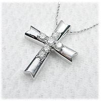【送料無料】クロスダイヤネックレスダイヤモンド...