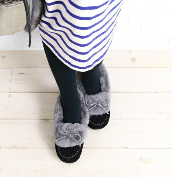 エミュ モカシンシューズ Amity Cuff Fur EMU W11...