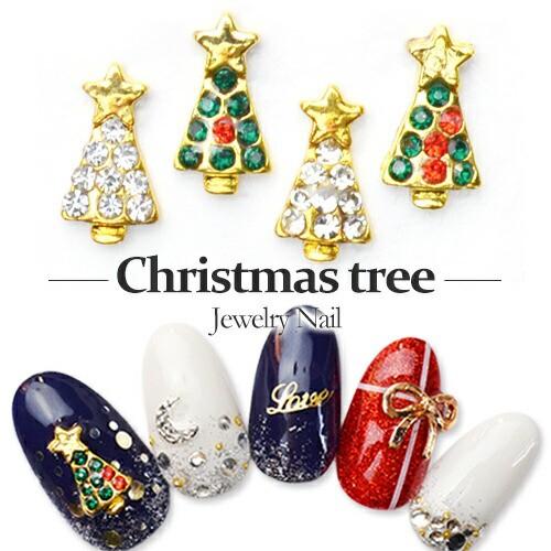 クリスマスツリージュエリーネイルパーツ[クリア...