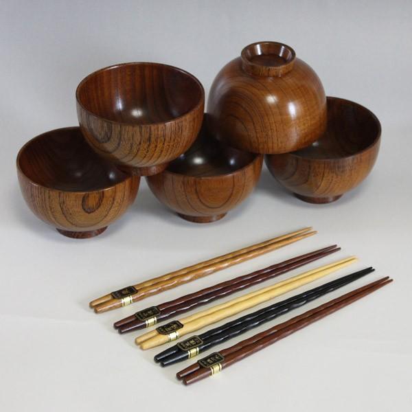 木製うるし塗汁椀5客と高級箸5膳セット001-2690 ...