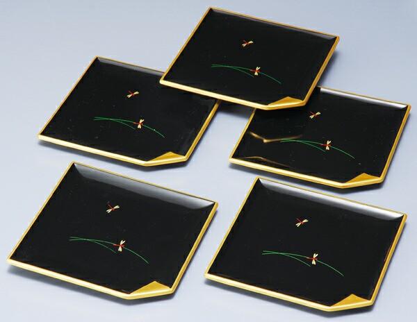 紀州漆器 4.5角銘々皿 黒 舞 5枚入23802[...