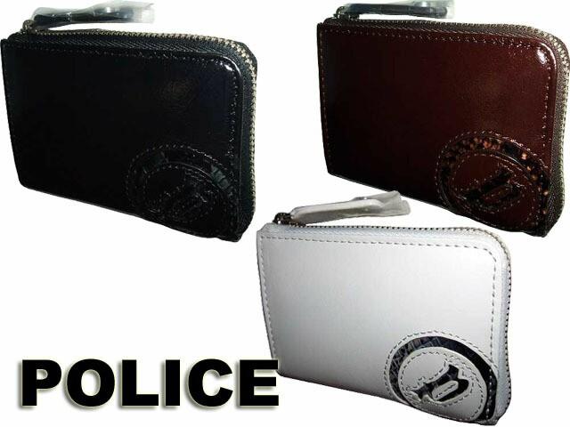 POLICE ポリス スムース牛革&パイソン型押し ラ...