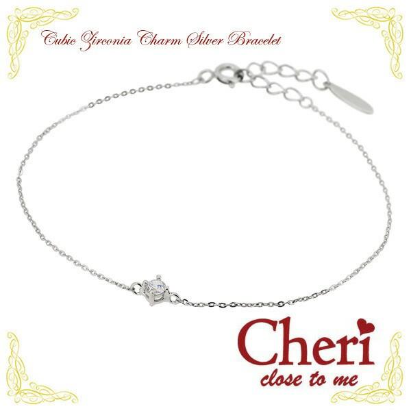 【Cheri】キュービックジルコニア チャーム シル...