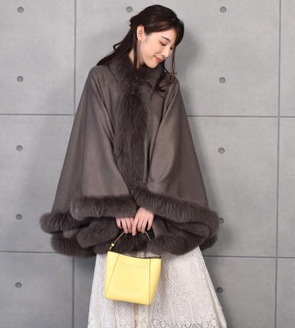 日本製 カシミヤ100% 大判ケープ フォックス(CF62...