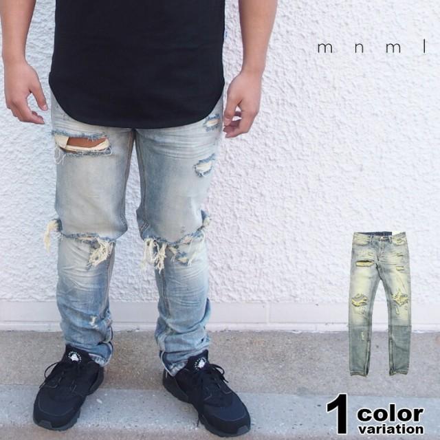 mnml ミニマル デニム パンツ サイドジップ ダメ...