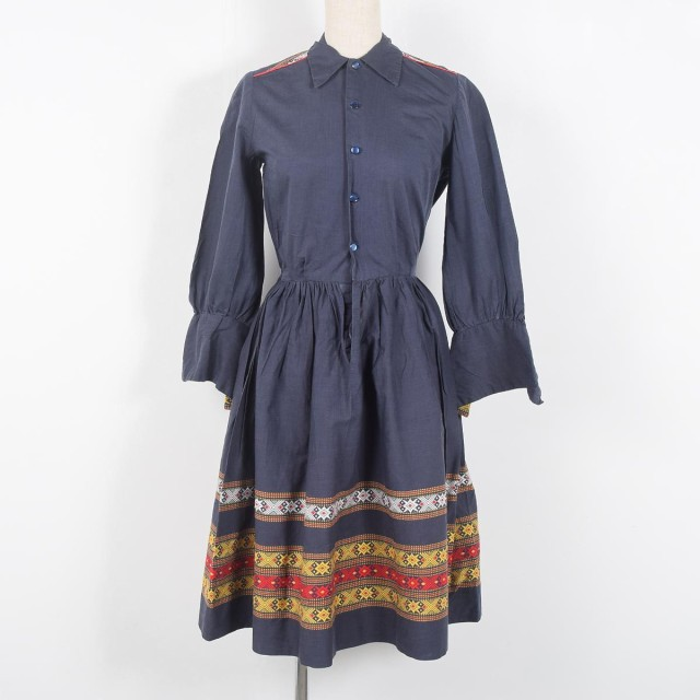 50年代 刺繍 ダブルカフス タックギャザー 長袖 ...