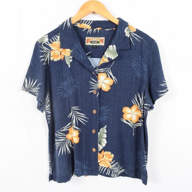 CARIBBEAN JOE 総柄 ハワイアンアロハシャツ レディースL 【170626】 /wah0026