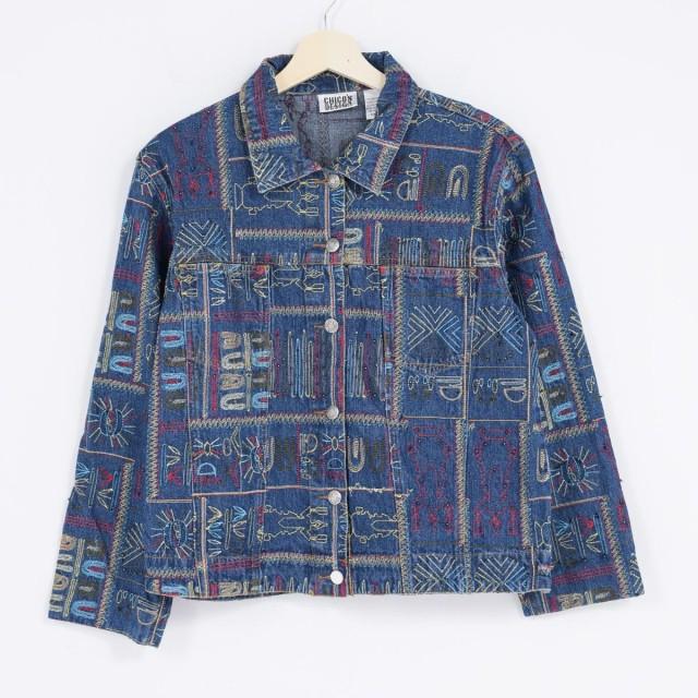 CHICO'S DESIGN 刺繍 ビーズ刺繍 デニムシャツジ...
