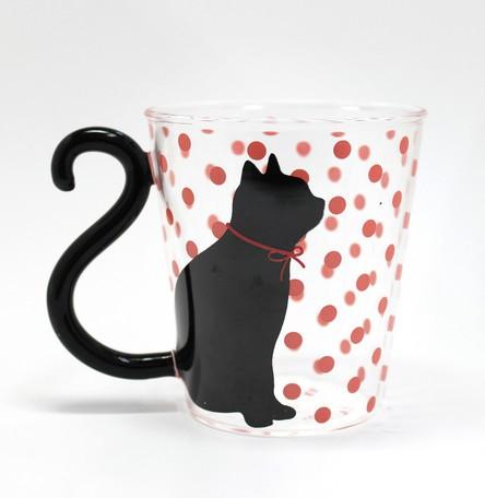 マグカップル/ガラス/黒猫ドット/ピンク/グラス《...