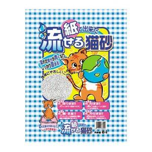 ヒノキ 紙で出来た流せる猫砂 8L