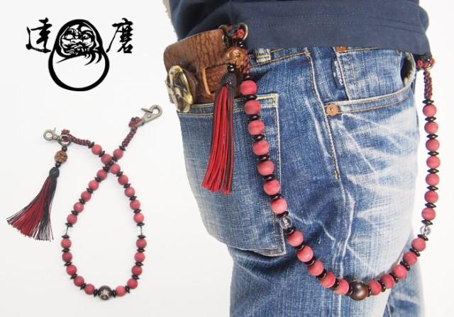 達磨[だるま] 朱雀 念珠ロープ 和柄ウォレットロ...