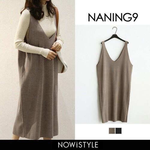 【NANING9】Vネックニットワンピース【5】 ワン...