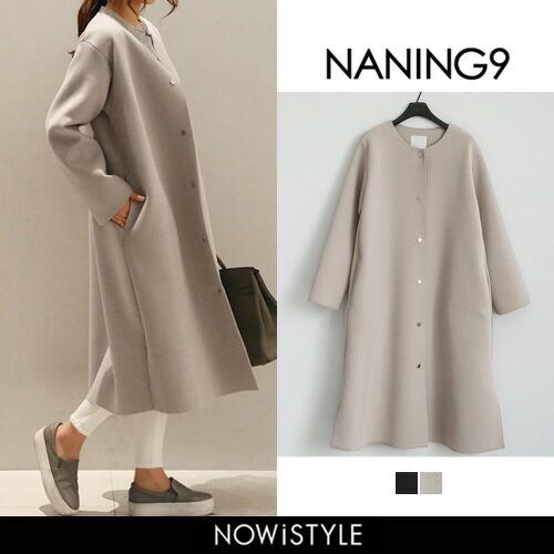 NANING9(ナンニング)ノーカラーロングコート コー...