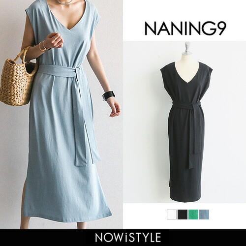 【NANING9】フレンチスリーブワンピース【5】 膝...
