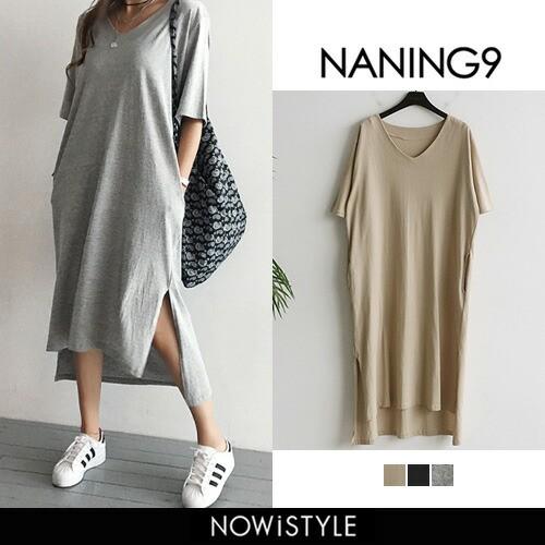 【NANING9】Tシャツロングワンピース ロング丈 ...