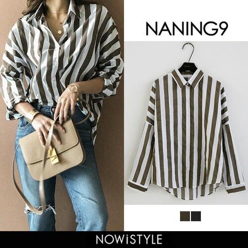 【NANING9】太ストライプシャツ【5】【メール便送...