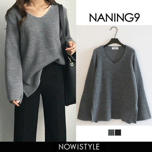 【NANING9】Vネックルーズフィットニット【5】 ...