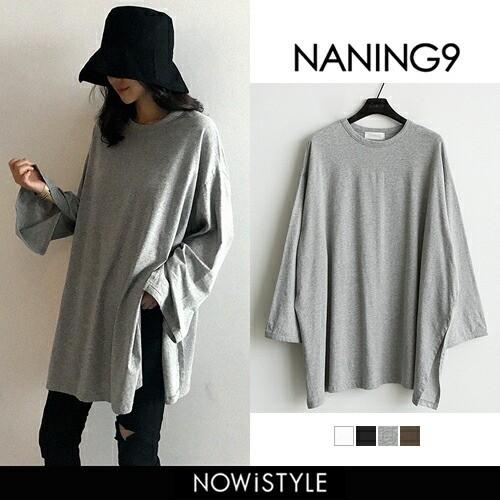 【NANING9】オーバーサイズ長袖Tシャツ【5】【メ...