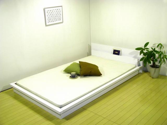 デザインフロアベッド(棚・W照明・SG天然ラテ...