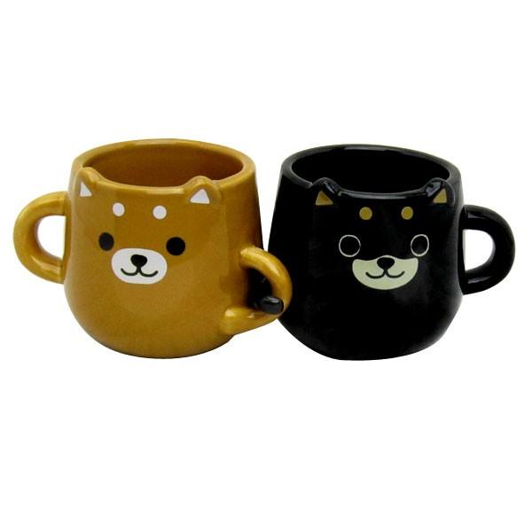 柴犬ペアマグCUP (マグカップ) ブラウン&ブラッ...