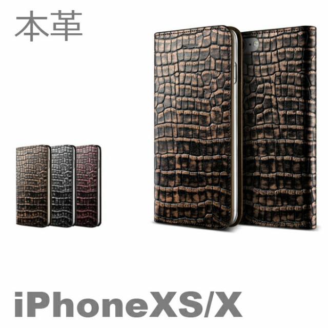 Genuine Croco Diary iPhoneX 手帳型 手帳 クロコ...
