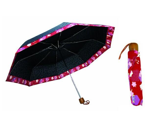 晴雨兼用折りたたみ傘 華まどか 花柄:うさぎ JK-...