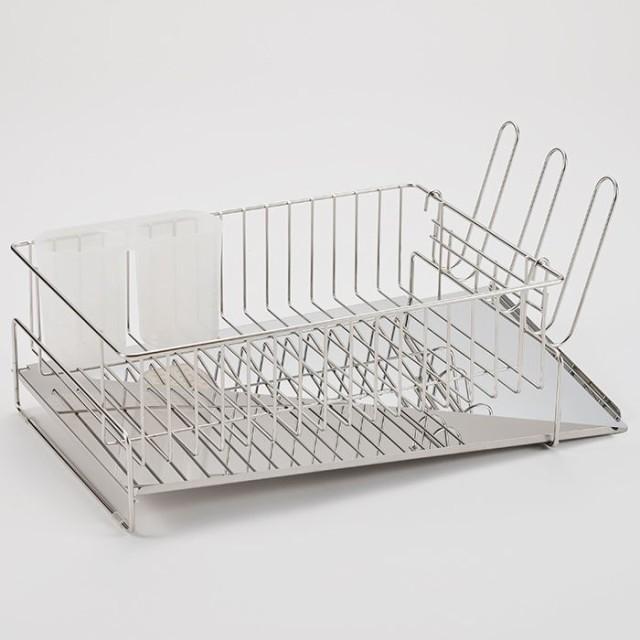 斜めに流れる 1段 水切り ラック シンプル キッチン 洗い物 片付け 右置き用 左置き用